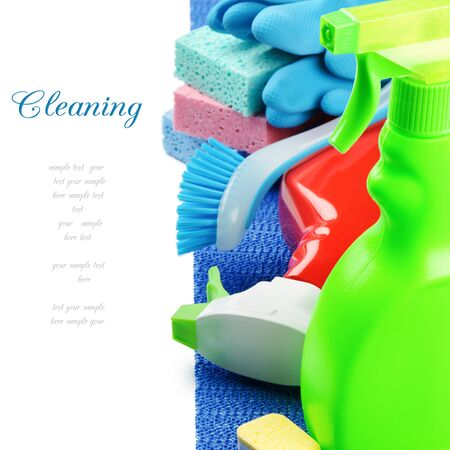 disinfect: Colorful cleaning products isolated over white Stock Photo