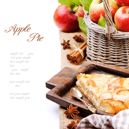pastries: Piece of homemade apple pie in rustic setting
