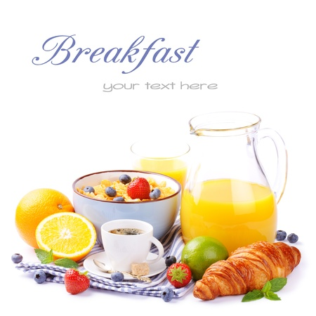 pitcher: Fresh healthy breakfast with copyspace isolated over white