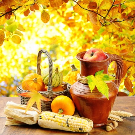 Fresh autumn vegetables on golden forest background photo