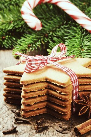 Christmas gingerbread cookies in vintage setting photo