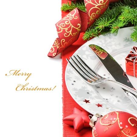 cena de navidad: Concepto Men� de Navidad aislado sobre blanco con copyspace
