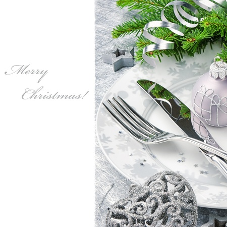 Christmas menu concept in silver tone isolated over white photo