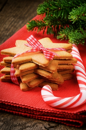 Christmas gingerbread cookies and candy cane on red napkin Stock Photo - 16629892
