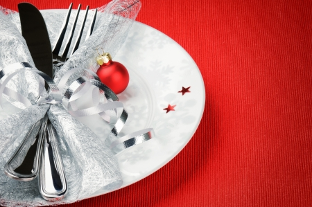 Christmas menu concept on red background with copyspace photo
