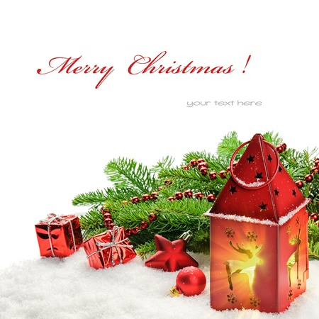 Christmas decorations and red lantern with magic light photo