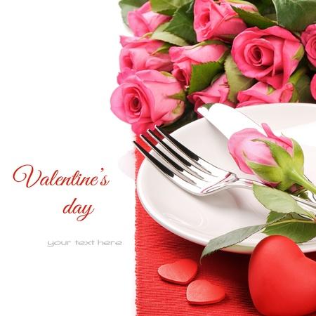 diner romantique: Concept de menu Saint-Valentin isol� sur blanc