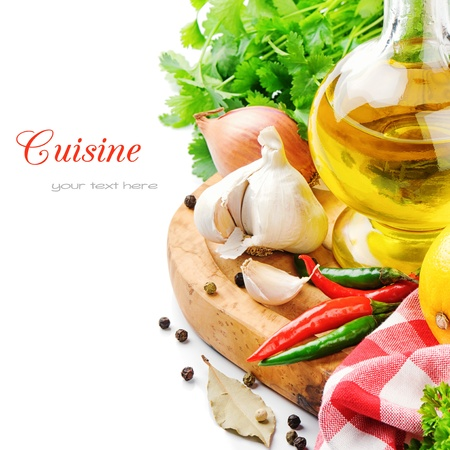 cuisine: Ingr�dients de cuisine frais avec l'huile d'olive