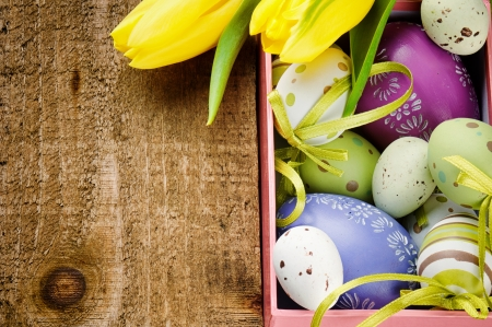 blue tulip: Colorful Easter eggs in festive setting with copyspace