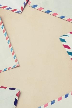 envelops: Vintage frame with old envelops on aged paper Stock Photo