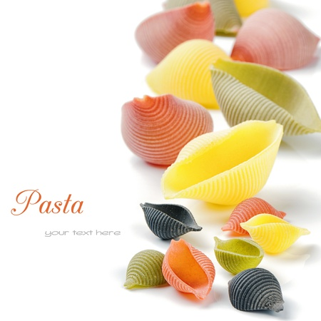 Colorful Italian pasta isolated over white photo