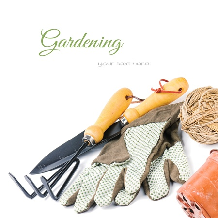 gardening gloves: Garden tools isolated over white background