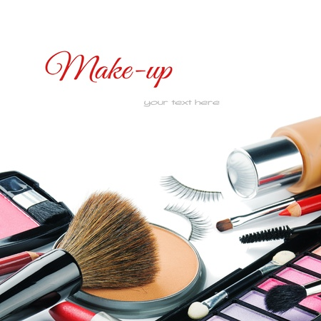 make up brush: Colorful make-up products isolated over white