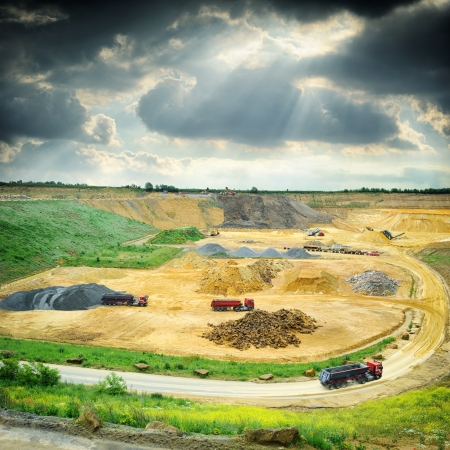 sand quarry: Stone quarry working area. Industrial concept Stock Photo