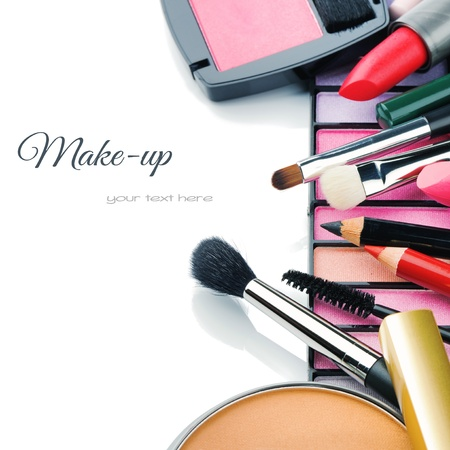 makeup brush: Colorful make-up products isolated over white