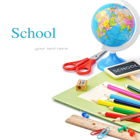 secondary education: Colorful school supplies isolated over white