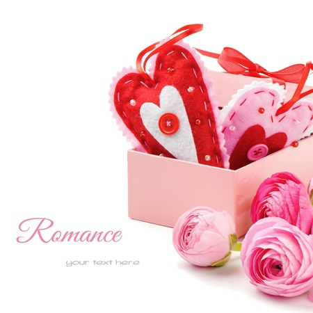 Two Valentine hearts in gift box with pink peonies