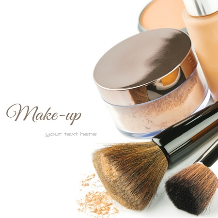 beauty make up: Basic make-up products. Foundation and powder