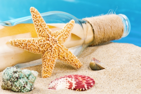 Bottle with message and shells on sand. Vacation concept Stock Photo - 20243558