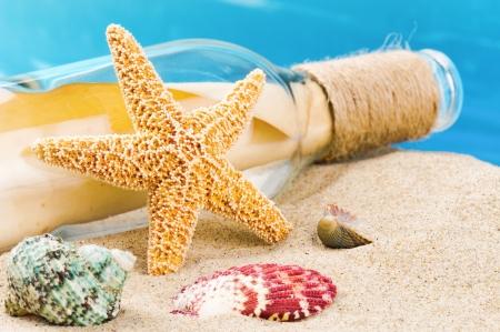 Flasche mit Meldung und Muscheln auf Sand. Urlaub Konzept Standard-Bild
