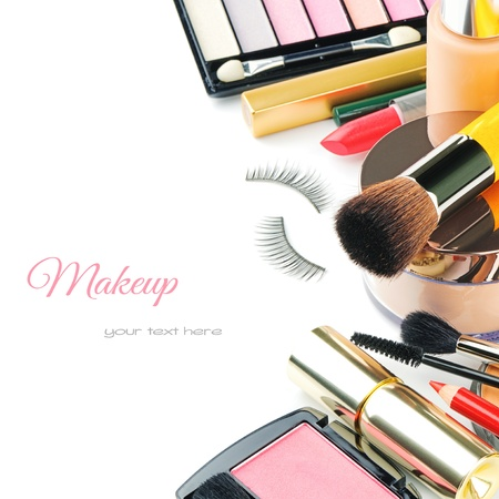 vanity: Colorful makeup products isolated over white