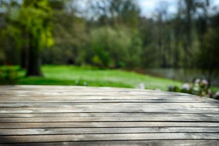 insertar: Mesa de madera vac�o en el jard�n verde de la primavera Foto de archivo