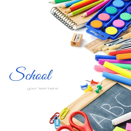 secondary school: Colorful school supplies isolated over white