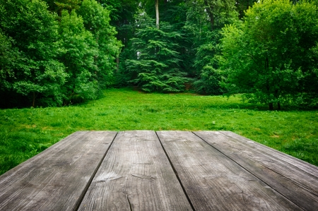 the place is outdoor: Wooden picnic table with green nature background Stock Photo