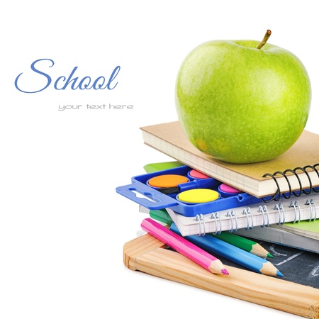 paintbox: Colorful school supplies isolated over white