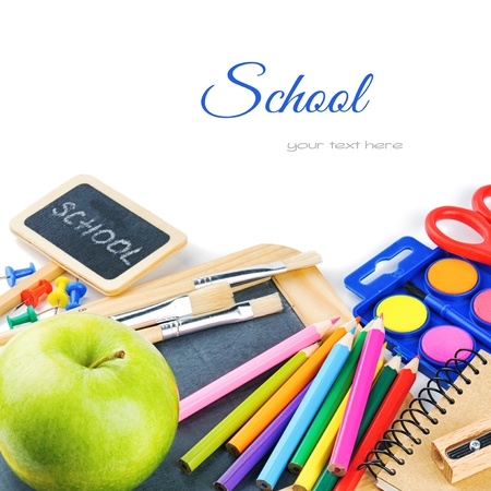 papeleria: �tiles escolares colores. Volver al concepto de escuela Foto de archivo