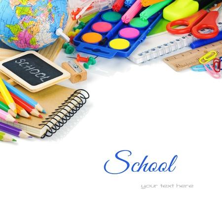 utiles escolares: �tiles escolares colores. Volver al concepto de escuela Foto de archivo