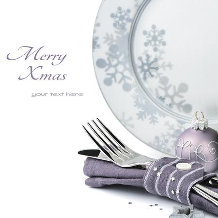 cena navideña: Concepto Men? de Navidad aislado sobre blanco con copyspace
