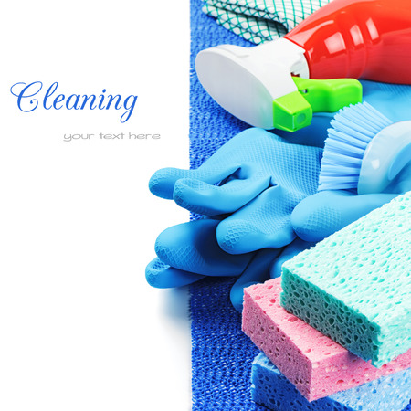 cleaning supplies: Colorful cleaning products isolated over white Stock Photo