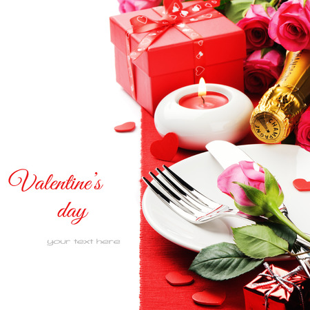 St Valentines menu concept isolated over white photo