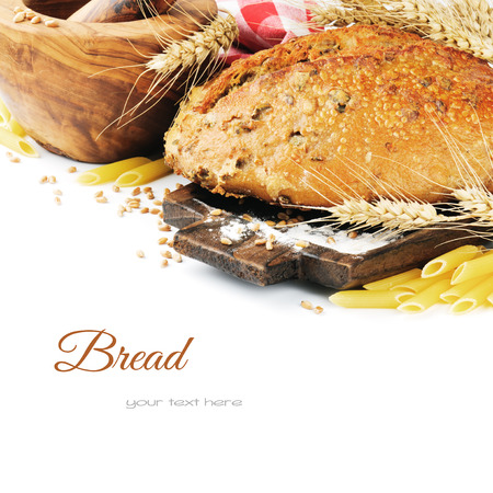 Freshly baked traditional bread in cooking setting photo