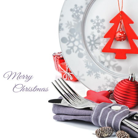 cena navide�a: Concepto de men� de Navidad aislado m�s de blanco
