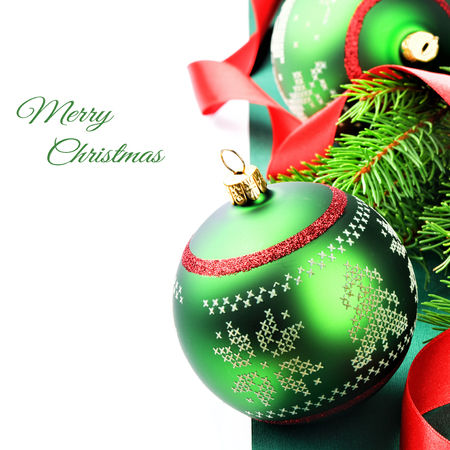 Christmas decoration with baubles in red and green tone photo