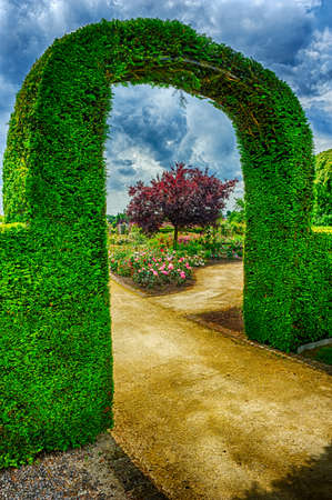 Bush arch in beautiful garden at cloudy summer day photo