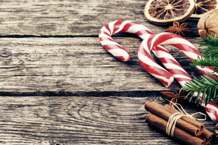 Vintage Christmas decorations with candy canes photo