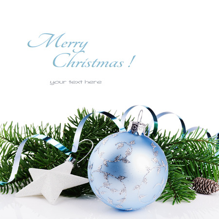 fir: Christmas ornaments isolated over white