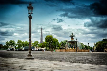 Place de la Concorde with Eiffel tower on background. Paris, France photo