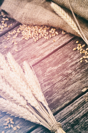 Agricultural frame with wheat on wooden background photo
