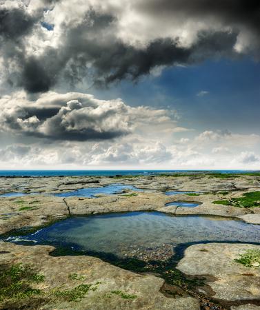 Coast of North Sea at cloudy day. France photo