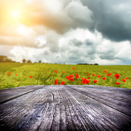 Empty wooden table with wheat field and poppies on the background photo