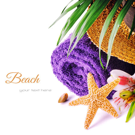 Summer holiday setting with beach accessories photo