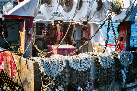 Old fishing boat closeup photo