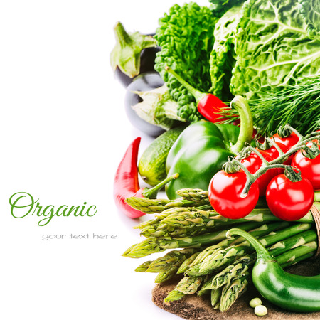 vegetable: Fresh organic vegetables isolated over white background