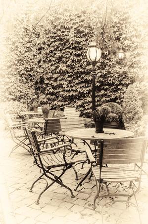Cozy cafe terrace in retro style. Bruges, Belgium photo
