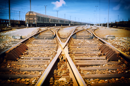 point of view: View on an old rusty railway junction Stock Photo