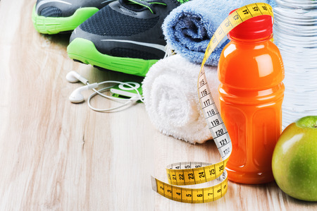 sneakers: Fitness equipment and healthy nutrition